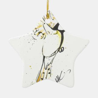 Ornement Étoile En Céramique Oiseau jaune