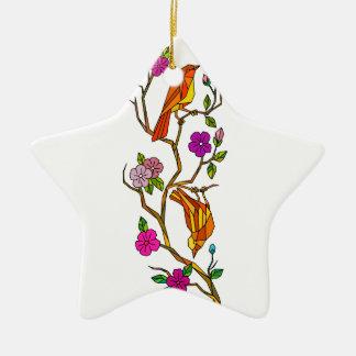 Ornement Étoile En Céramique Oiseau sur le bas polygone de fleurs de cerisier