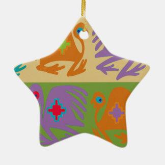 Ornement Étoile En Céramique Oiseaux péruviens
