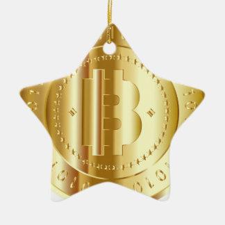 Ornement Étoile En Céramique Or Bitcoin