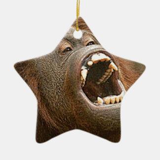 Ornement Étoile En Céramique orang-outan idiot