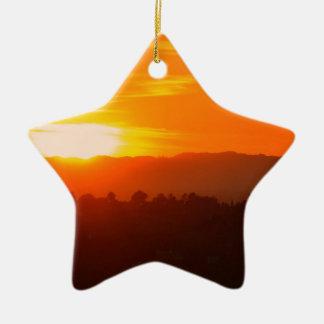 Ornement Étoile En Céramique Orange orange Sun de ciel de Hollywood Los Angeles