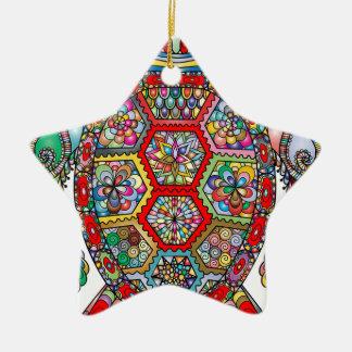 Ornement Étoile En Céramique Ornamental décoratif de fleurs florales de tortue