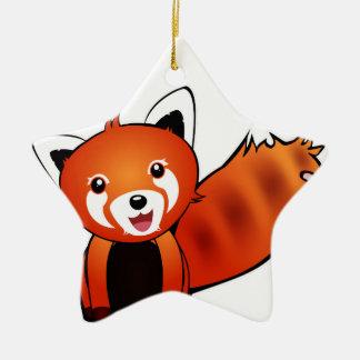 Ornement Étoile En Céramique Panda Rouge