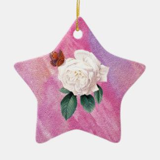 Ornement Étoile En Céramique papier blanc d'aquarelle de rose rose