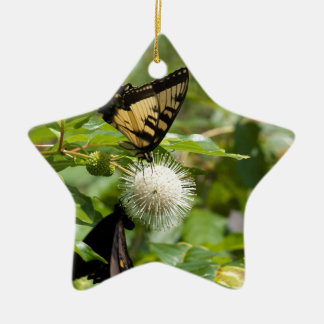 Ornement Étoile En Céramique Papillon de machaon de tigre sur le fleur sauvage
