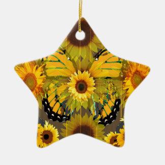 Ornement Étoile En Céramique PAPILLON de MONARQUE jaune et ART de tournesol