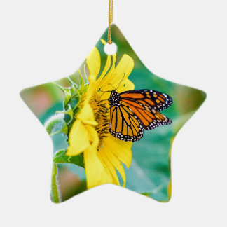 Ornement Étoile En Céramique Papillon sur un tournesol