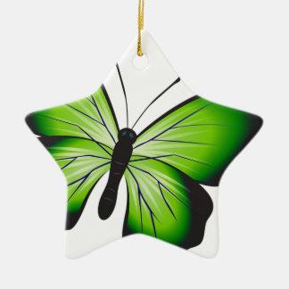 Ornement Étoile En Céramique Papillon vert