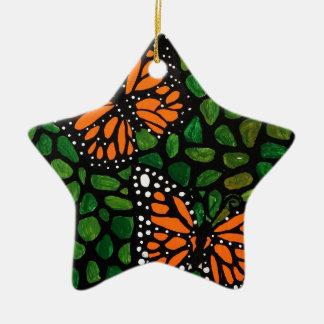 Ornement Étoile En Céramique papillons
