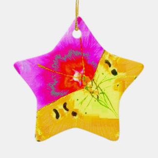 Ornement Étoile En Céramique PAPILLONS de JAUNE d'ART MODERNE et cadeau ROSE