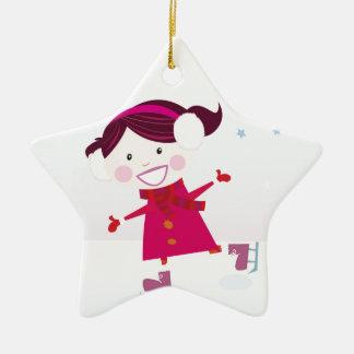 Ornement Étoile En Céramique Patinage de glace peu de rouge d'enfant