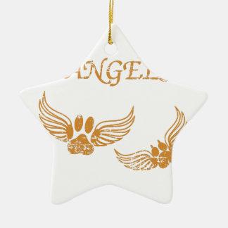 Ornement Étoile En Céramique Pattes affligées d'animal familier d'ange