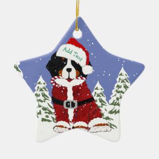 Ornement Étoile En Céramique Pattes faites sur commande de Père Noël de chien