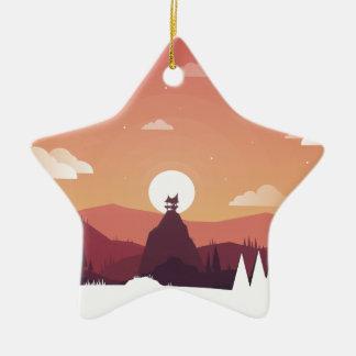 Ornement Étoile En Céramique Paysage de hutte de colline d'art de conception