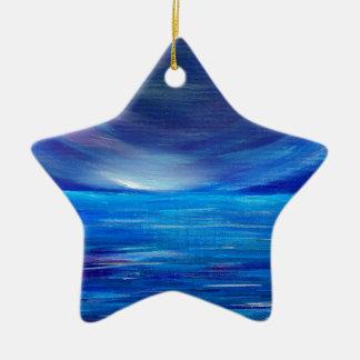Ornement Étoile En Céramique Paysage marin abstrait de bleu et de pourpre