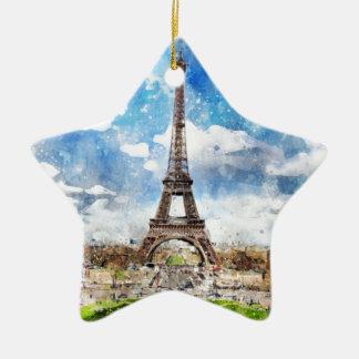 Ornement Étoile En Céramique Paysage urbain Paris, Eiffel d'aquarelle vers