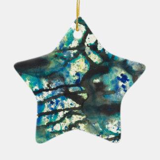 Ornement Étoile En Céramique Peinture abstraite bleue et jaune noire