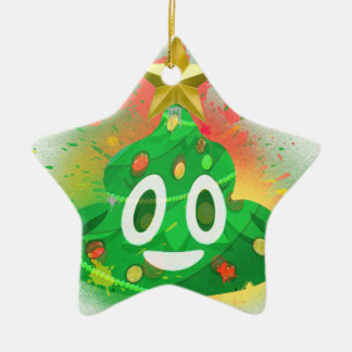 Ornement Étoile En Céramique Peinture de jet d'arbre de Noël d'Emoji