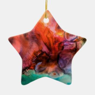 Ornement Étoile En Céramique Peinture organique abstraite d'éclaboussure de
