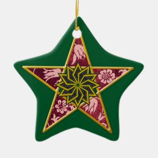 Ornement Étoile En Céramique Pentagone étoilé - or et rouge sur le vert