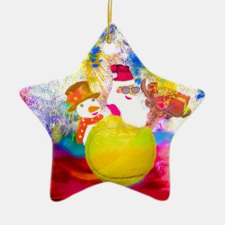 Ornement Étoile En Céramique Père Noël et ses amis apprécient la saison