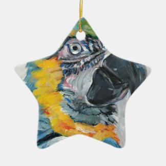 Ornement Étoile En Céramique Perroquet bleu