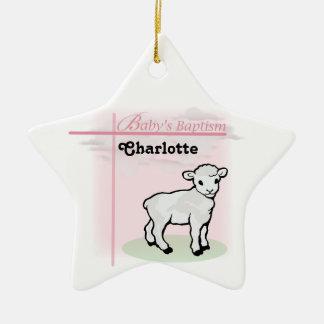 Ornement Étoile En Céramique Personnalisable, baptême, rose, fille, agneau