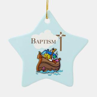 Ornement Étoile En Céramique Personnalisable, l'arche de Noé de baptême de bébé