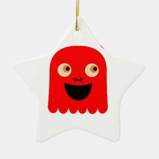 Ornement Étoile En Céramique Petit monstre rouge mignon sur le blanc