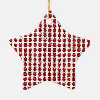 Ornement Étoile En Céramique Petites coccinelles rouges