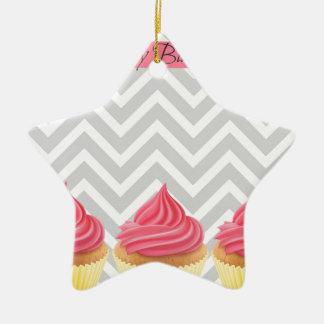 Ornement Étoile En Céramique Petits gâteaux de joyeux anniversaire