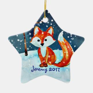 Ornement Étoile En Céramique Peu de Fox rouge dans la neige