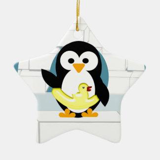 Ornement Étoile En Céramique Pingouin