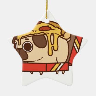 Ornement Étoile En Céramique Pizza Pug-01