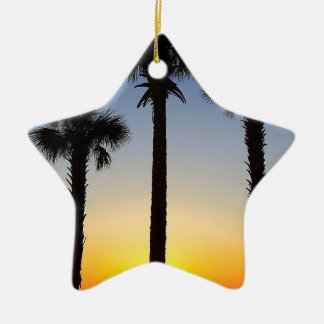 Ornement Étoile En Céramique Plage de ciel de palmier d'aube d'aube de lever de