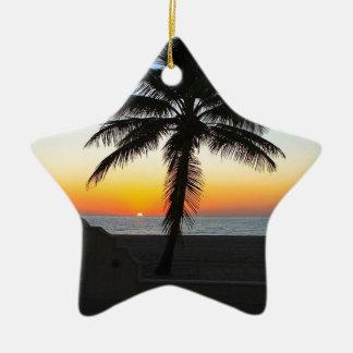 Ornement Étoile En Céramique Plage de sable de ciel de palmier d'aube d'aube de