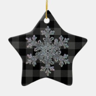 Ornement Étoile En Céramique Plaid gris et noir de pays - flocon de neige