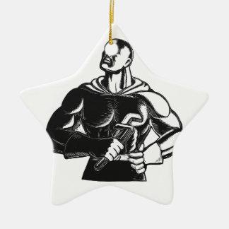Ornement Étoile En Céramique Plombier de super héros avec la gravure sur bois