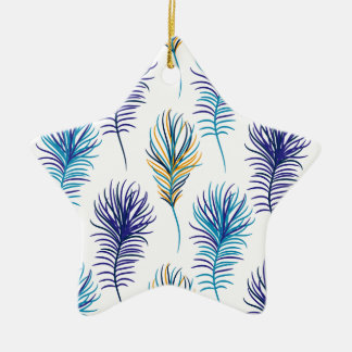 Ornement Étoile En Céramique Plumes de bleu et de violette de paon