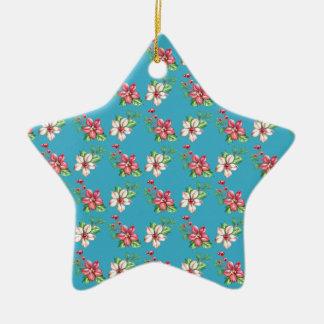Ornement Étoile En Céramique Poinsettias rouges et blanches d'aquarelle bleue
