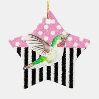 Ornement Étoile En Céramique Point de polka rose de colibri
