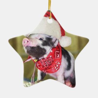 Ornement Étoile En Céramique Porc le père noël - porc de Noël - porcelet