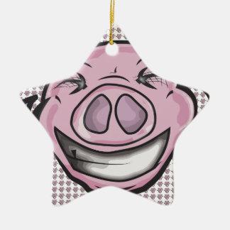 Ornement Étoile En Céramique Porc riant drôle
