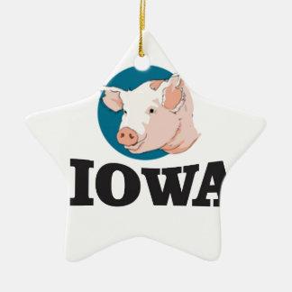 Ornement Étoile En Céramique porcs de l'Iowa