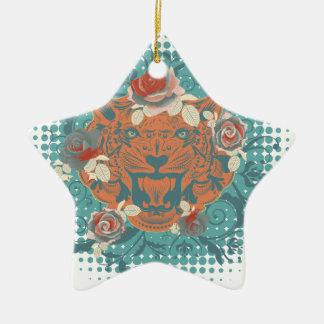 Ornement Étoile En Céramique Portrait ornemental 3 de tigre
