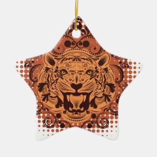 Ornement Étoile En Céramique Portrait ornemental de tigre
