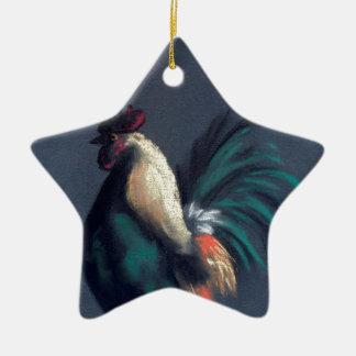 Ornement Étoile En Céramique Poulet en pastel de coq
