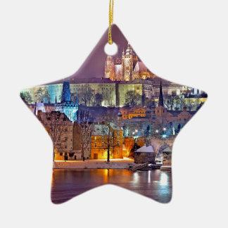 Ornement Étoile En Céramique Prague en hiver
