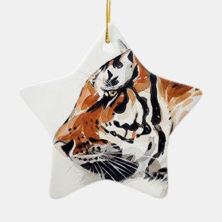 Ornement Étoile En Céramique Profil d'aquarelle de peinture de nature animale